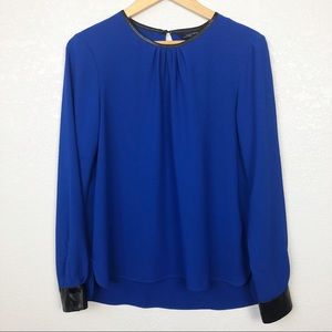 Zara   Long Sleeve Blouse with Faux Leather Trim